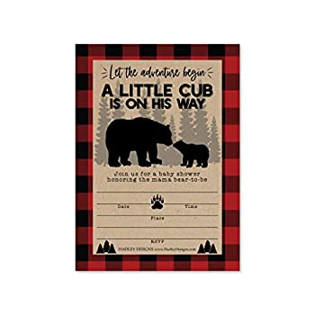 25 Little Bear Baby Shower Invitations Sprinkle Invite For Boy Coed Rustic Lumberjack Plaid Gender Reveal Theme Cute Woodland DIY Fill or Write In Blank Printable Card Animal Forest Party Supplies