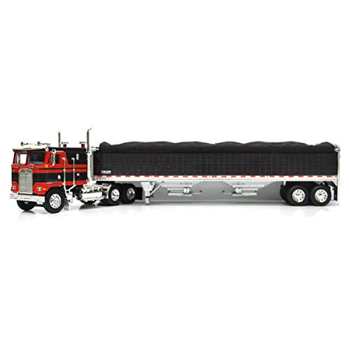 1/64 High Detail Kenworth K-100 with Wilson High Sided Hopper Bottom Grain Trailers, DCP Exclusive Black/Red 60-0903