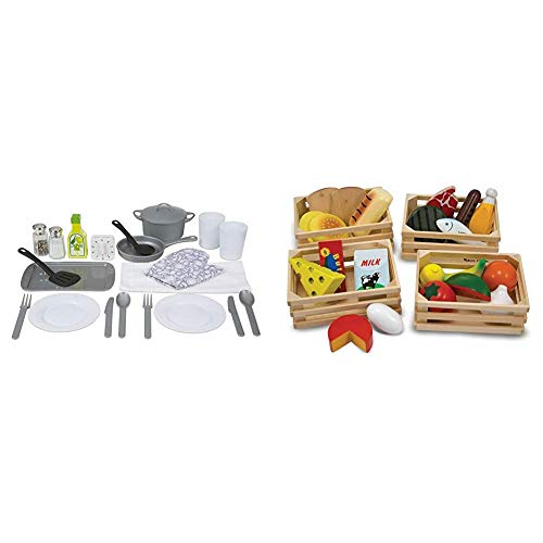 Melissa & Doug Kitchen Accessory Set (Pretend Play, Best for 3, 4, 5 Year Olds and Up) & Food Groups - Wooden Play Food, The Original (Pretend Play, Kids Toy Best for 3, 4, 5, and 6 Year Olds)