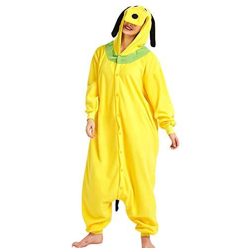 AYJMA Pijamas de Perro Amarillo Kigurumi Onesie Adultos Navidad Cosplay Disfraz Monos botón Romper L Goofy Dog Onesie