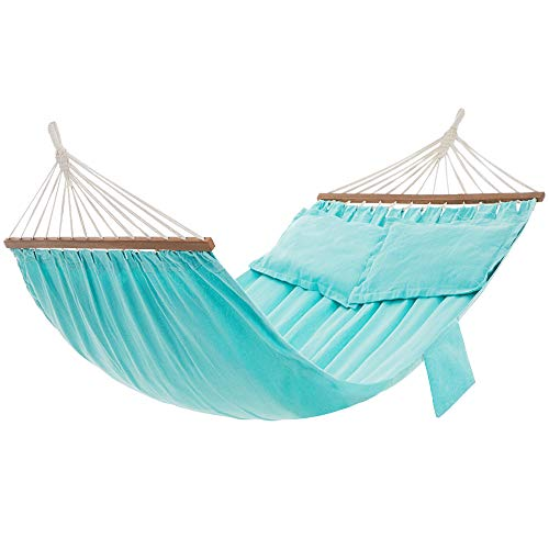 SONGMICS Hammock, Double Hammock with 2 Pillows, Wooden Bars, 82.7 x 59.1 Inches, Load Capacity 660 lb, Turquoise UGDC022Q01