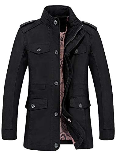 Mordenmiss Men's Single Breasted Jacket Cotton Trench Coat Slim Fit Blazer Outfit Style 1 L Black