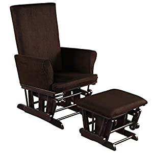 Costzon Baby Glider and Ottoman Cushion Set, Wood Baby Rocker Nursery Furniture for Napping, Nursing, Reading, Upholstered Hoop Glider & Ottoman Comfort Nursery Chair w/Padded Armrests (Brown)