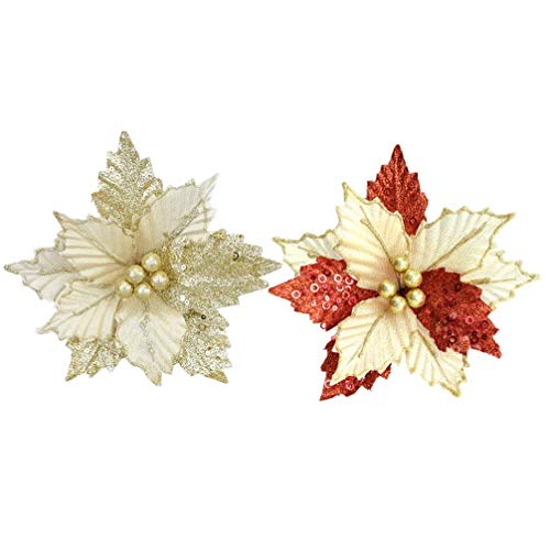 QULONG 2PCS Christmas Artificial Flower Glitter Poinsettia Flower DIY Xmas Tree Wreaths Banquet Home Decoration