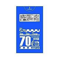 【お買得】HHJ 食品検査適合 業務用ポリ袋 70L 青 半透明 0.030mm 500枚 10枚×50冊入 MB73