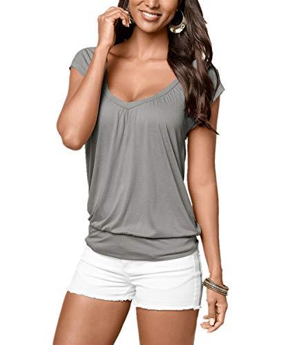 Uniquestyle Damen Sommer T-Shirt Kurzarmshirt V-Ausschnitt Lässige Stretch Falten Bluse Tops Oberteil Baumwollshirt Blickdicht (M, Grau)