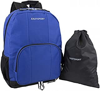 Eastsport Classic Backpack with Inner Tech Pocket and Bottom Shoe Compartment with Bonus Free Drawstring Bag