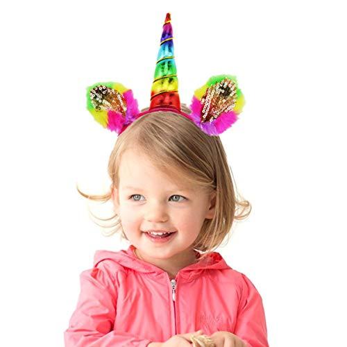 Amosfun Eenhoorn Hoorn Hoofdband Pailletten Eenhoorn Oren Hoofdband Verjaardag Kleurrijke Bloem Hoofddeksels voor Kinderen Volwassenen Cosplay Kostuum of Verjaardag Feestartikelen 2 Stks