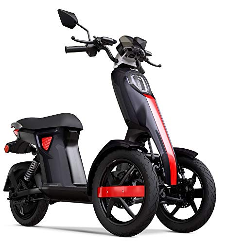 VELECO NEW iTango Innovative Design Three Wheels Electric Scooter Adult 3 wheel USB Bluetooth APP Tricycle up to 27mph BLACK