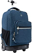 WEISHENGDA 18 inches Wheeled Rolling Backpack for Boys and Girls School Student Books Laptop Travel Trolley Bag, Dark Blue