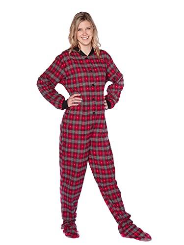BIG FEET PAJAMA CO. Rot & Grau mit kleinen grauen Herzen Karierter Baumwollflanell Erwachsene Onesie Fußpyjamas mit Butt Flap hinteren Klappe für Männer & Frauen