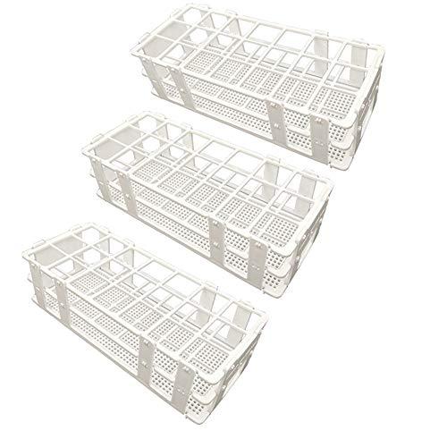 Pocomoco 3 Packs Plastic Test Tube Rack, 21 Holes Lab Test Tube Rack Holder for 30mm Test Tubes, White, Detachable (21 Holes)
