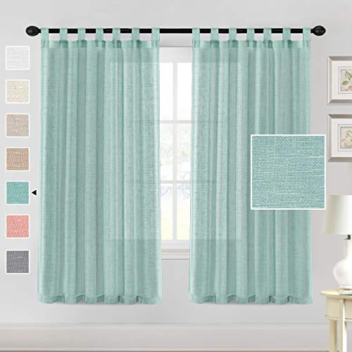 "H.VERSAILTEX Natural Linen Sheer Curtains 72 Inch Length - Semi Sheer Tab Top Curtain Sets for Living Room/Bedroom Privacy and Sunlight Filtering, 2 Panels (52"" W x 72"" L, Sea Mist)"