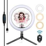 Yoozon Luz de Anillo LED 10' fotográfica de Escritorio, Control Remoto Bluetooth, Altura Ajustable trípode con Soporte de teléfono para Selfie, Maquillaje y Youtube,3 Colores 10 Brillos Regulables