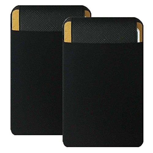 ZhaoCo Porta Tarjetas Móvil, 2 Piezas Lycra Bolsillo Adhesivo Tarjeta Credito con Cinta de 3M Stick-on Teléfono Móvil Celulares - Negro con Tapa