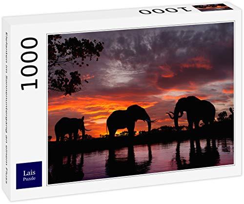 Lais Puzzle Elefanti al Tramonto su Un Fiume 1000 Pezzi
