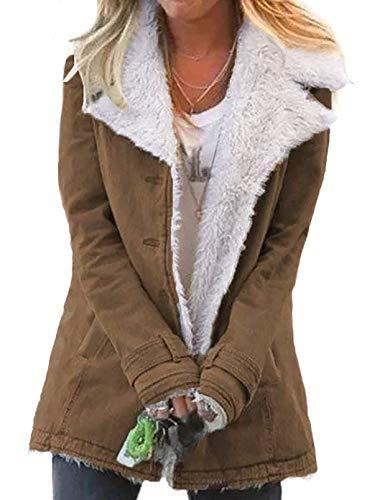 Dokotoo Womens Winter Coats Long Sleeve Jean Denim Jacket Autumn Collar Button Down Cozy Fluffy Cardigans Sherpa Pocketed Jackets Warm Outerwear Khaki Medium