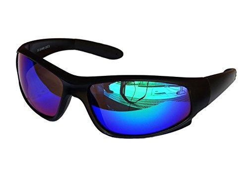 Gil SSC Sportbrille Sonnenbrille Snowboard Black matt verspiegelt Fahrradbrille Sport M 1 (Grün Blau verspiegelt)