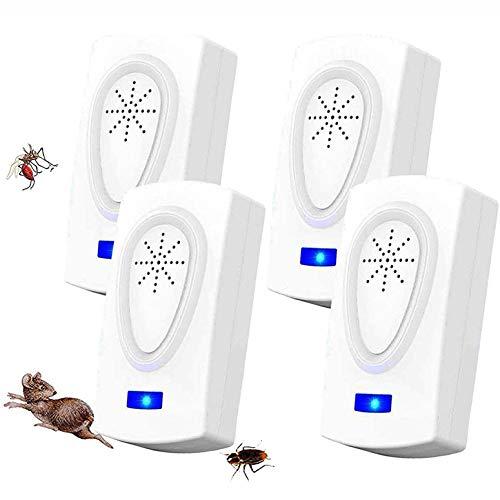 WARDBES Repelente Ultrasónico,2020 Nuevo Plagas Control Interiores,Insectos Antimosquitos Eléctrico Extra Fuerte para Interiores - Insectos, Hormigas,Cucarachas,Ratones,Ratas,Roedores (4-Pack)