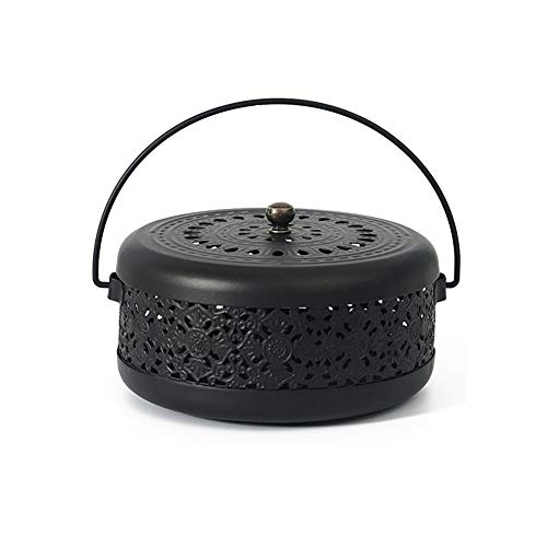 Whthteey Classical Design Mosquito Coil Holder with Handle Round Iron Mosquito Incense Burner for Home (Black)