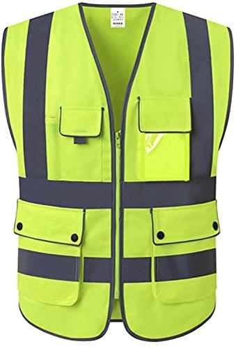 XIAKE Unisex 9 Taschen Warnweste Hohe Sichtbarkeit Weste Reflektierende EN ISO 20471 Standards mit Reißverschluss Gelb XL