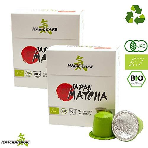 MatchaMagic Matcha Caps | Nespresso®-kompatible Caps mit Premium Bio Matcha Pulver | Original Grüntee aus Japan | 100{b444e0cc88985ed88c3dbcd6c9e3a54c0b78ece664df94fec728bb8ad7b24993} Bio | recyclebarer Kunststoff | 10 Matcha Kapseln Nespresso kompatibel á 1,5g (1)