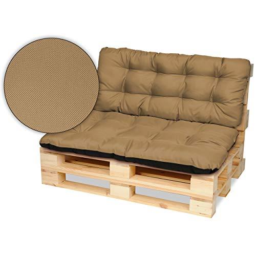 SuperKissen24. Cojín para Palet Sofá Banco 120x80 cm y Respaldo 120x50 cm Asiento Cómodo e Impermeable para Muebles Terazza Exterior - Beige