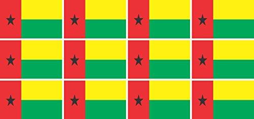 Mini Aufkleber Set - Pack glatt - 50x31mm - Sticker - Fahne - Guinea Bissau - Flagge - Banner - Standarte fürs Auto, Büro, zu Hause & die Schule - 12 Stück
