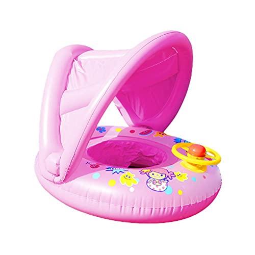 Flotador Natación para Bebés, Anillo de Natación para Bebés Con Toldo Para Sombrilla Desmontable Y Volante, Protector Solar Inflable Anillo Natación Flotador Inflable Para Nadar Anillo De Natación