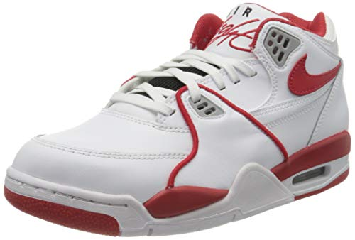 Nike Herren AIR Flight 89 LE Basketballschuh, White University Red White Wolf Grey, 42.5 EU