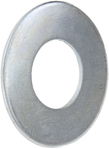 "Steel Flat Washer, Zinc Plated Finish, ASME B18.22.1, 2"" Screw Size, 2-1/8"" ID, 4-1/2"" OD, 0.180"" Thick (Pack of 5)"
