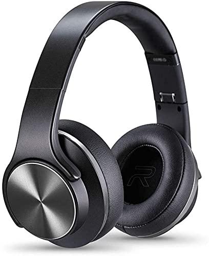 Auriculares estéreo Auriculares Bluetooth con Bajos, Modos Plegables y livianos, por Cable y inalámbrico incorporados en Mic para teléfonos celulares, TV, PC y Viajes.Negro (Color : Black)
