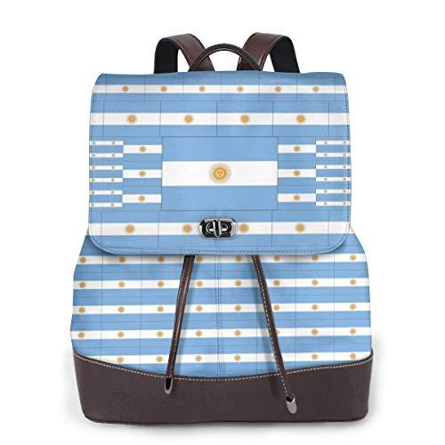 mochila de cuero para mujer Argentina Flag Women Backpack Purse Waterproof Leather Anti-theft Schoolbag Lightweight Rucksack Travel bags