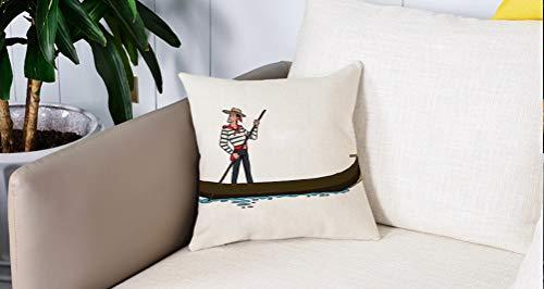 Pillow Case Cojín Cuadrado Print,Caricatura, Ilustración de Góndola en Romance Ciudad Venecia Símbolo europeo del amor DecoraciAdecuado para Oficina, Familia, automóvil, cafetería, Tienda, 45x45cm