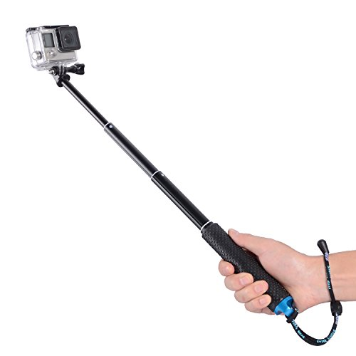 "Trehapuva Selfie Stick, 19"" Waterproof Hand Grip Adjustable Extension Monopod Pole Compatible With GoPro Hero(2018) Hero 7 6 5 4 3+3 2 1 Session, AKASO, Xiaomi Yi,SJCAM SJ4000 SJ5000 SJ6000 More(Blue)"
