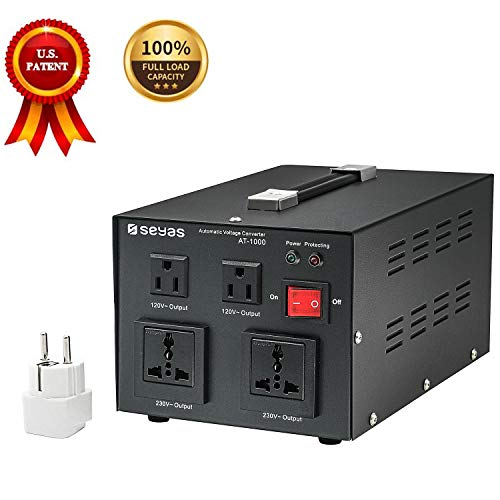 Price comparison product image SEYAS 1000W Auto Step Up & Step Down Voltage Transformer Converter,  110-120 to 220-240 Volts,  Soft Start & Full Load,  7x24hrs Continous Run,  Circuit Breaker Protection,  U.S. Patent No. US9225259 B2