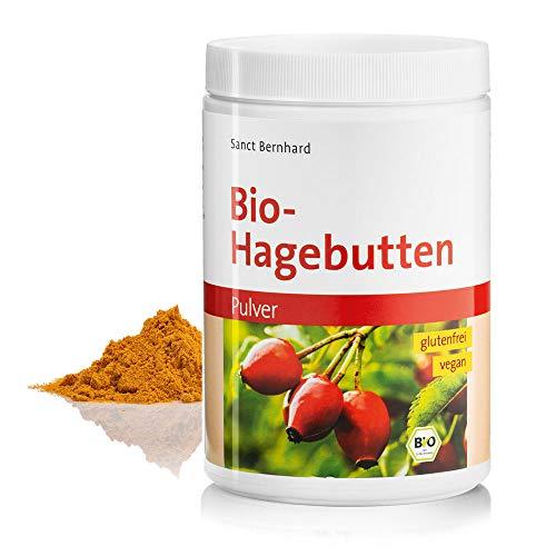 Sanct Bernhard Bio Hagebutten Pulver, kalorienreduziert, mechanische Pressung, glutenfrei, vegan, für Smoothies, Shakes, Müslis, Inhalt 500 g