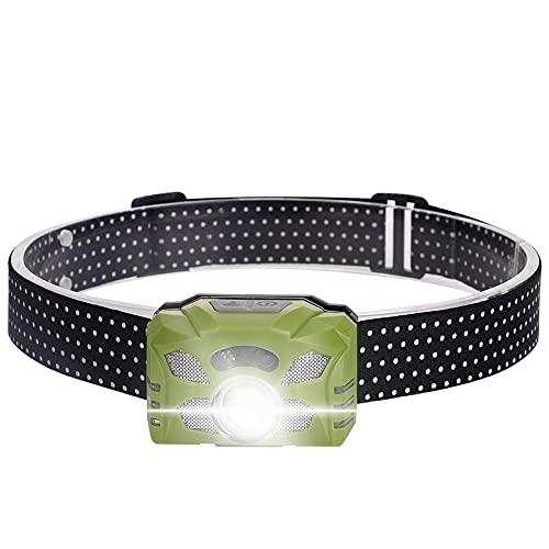 LIZHOUMIL Linterna frontal recargable con USB para correr, resistente al agua, ligera y cómoda, luz de caza nocturna para pesca, camping, senderismo y caza, verde