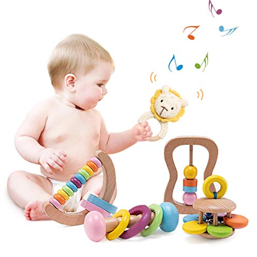 let's make Wooden Montessori Baby Sensory Rattle Educational Toys Preschool Baby Grasping Toy-Nursery First Toy
