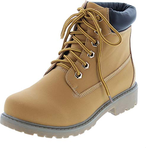 Nature Breeze Womens Terrain Leatherette Multi Color Padded Collar Hard Toe Boot - Wheat,Wheat,8.5