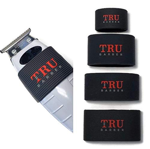 TRU BARBER Clipper Grip Tapes, Pack of 4, Clipper Grips for Hairdressers, Clipper Sleeve for Barber Tools, Non-Slip, Heat Resistant (schwarz)