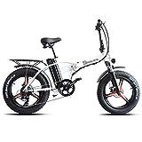 PHASFBJ 20 Pulgadas Bicicleta Eléctrica para Nieve, Bicis Electrica Fat Bike 7 Velocidades 500w 48v 15ah Bicicleta De Montaña Plegable El Freno De Disco Eléctrico,Blanco