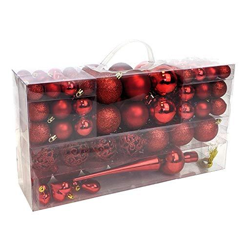 Wohaga 105 Stück Weihnachtskugeln 'Glamour' Christbaumkugeln Baumschmuck Weihnachtsbaumschmuck Baumkugeln, Farbe:Rot