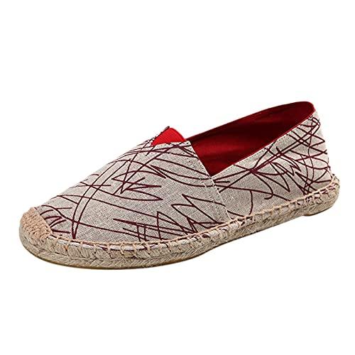 Zapatos de Pareja Hombre Mujer Rayas Alpargatas Plano Slip-On Canvas Casual Zapatos de Verano de Lino de algodón Alpargatas Planas Deslizamiento en Zapatos Bordados señoras