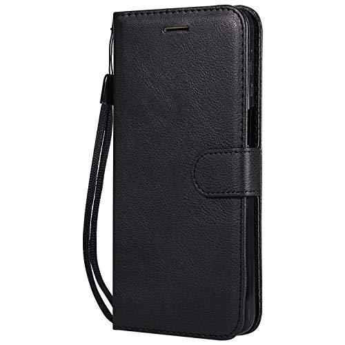 Hülle für Moto Z3 / Z3 Play Hülle Handyhülle [Standfunktion] [Kartenfach] Tasche Flip Hülle Cover Etui Schutzhülle lederhülle flip case für Motorola Moto Z3 Play - DEKT051404 Schwarz