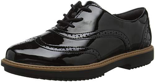 Clarks Raisie Hilde, Zapatos de Cordones Brogue para Mujer, Negro (Black Pat), 39.5 EU