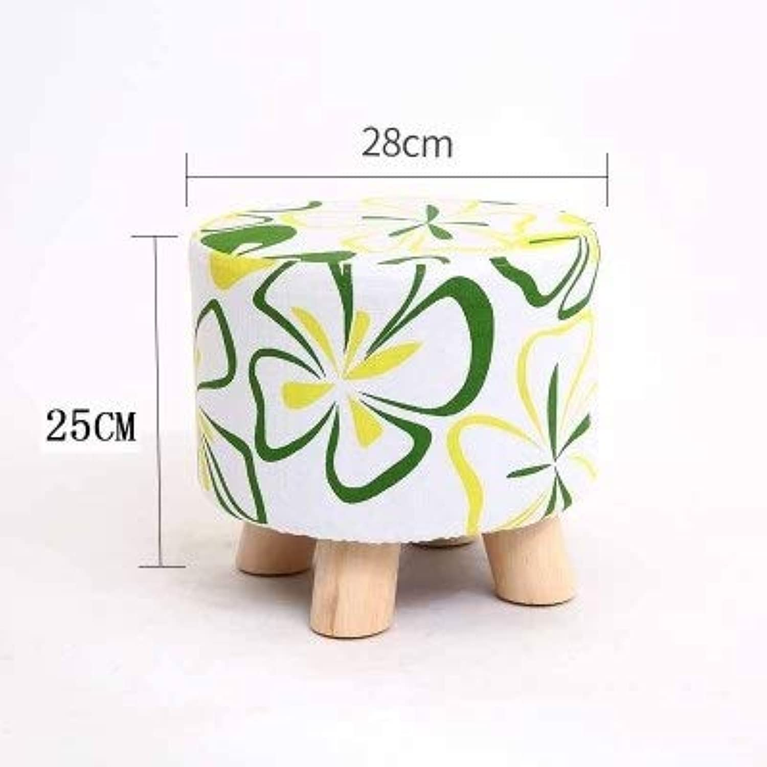 RHHWJJXB Small Stool Fabric Stool Home Mini shoes Bench Solid Wood Stool Small Chair Sofa Stool Small Wooden Bench (color   E)
