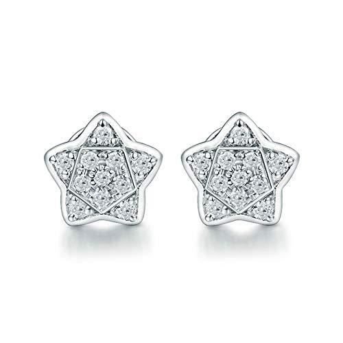 Daesar Pendientes Mujer Oro Blanco 18K,Estrella Diamante 0.15ct,Plata