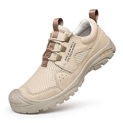ZZRR ZHUORUIJPN Summer Hiking Shoes Men Breathable Outdoor Trekking Shoes Men Sneakers Mesh Climbing Shoes Man Mountain Shoes Big Size 39-50 (Color : Beige, Size : 40)