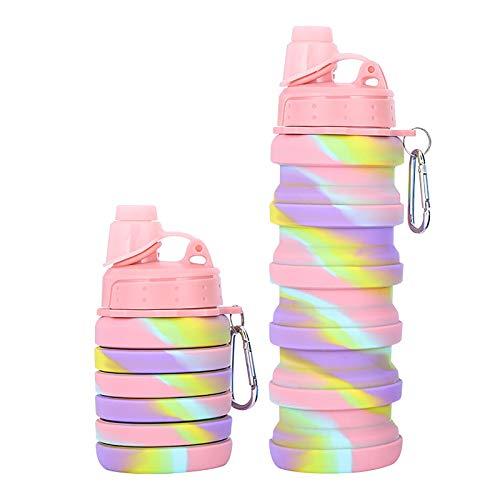 WEIXINMWP Botella de Agua de Silicona Botellas Deportivas Plegables Botellas de Agua al Aire Libre Portátil Camuflaje Copa Plegable ecológico,Pink Screw Cap,500ml